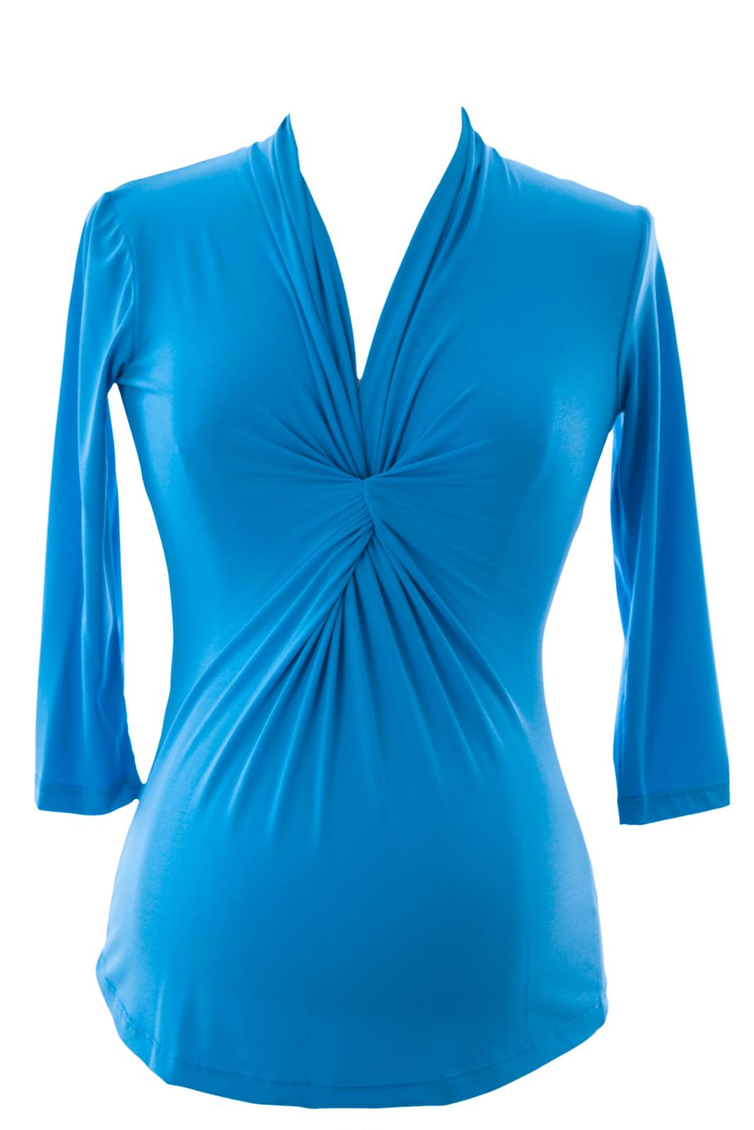 Olian Women's V-Neck Baby Doll Maternity Tunic X-Small Sky Blue