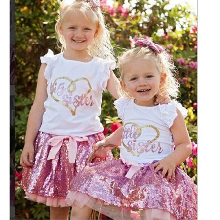 Baby Girl Outfits Suit Cute Princess Clothes Toddler Outfit Sisters Matching Outfits Short Sleeve Letter T-Shirt Tops + Glittering Pink Bowknot Short Skirt Outfit Suit, Little Sister - Cute Little Clothes Coupon
