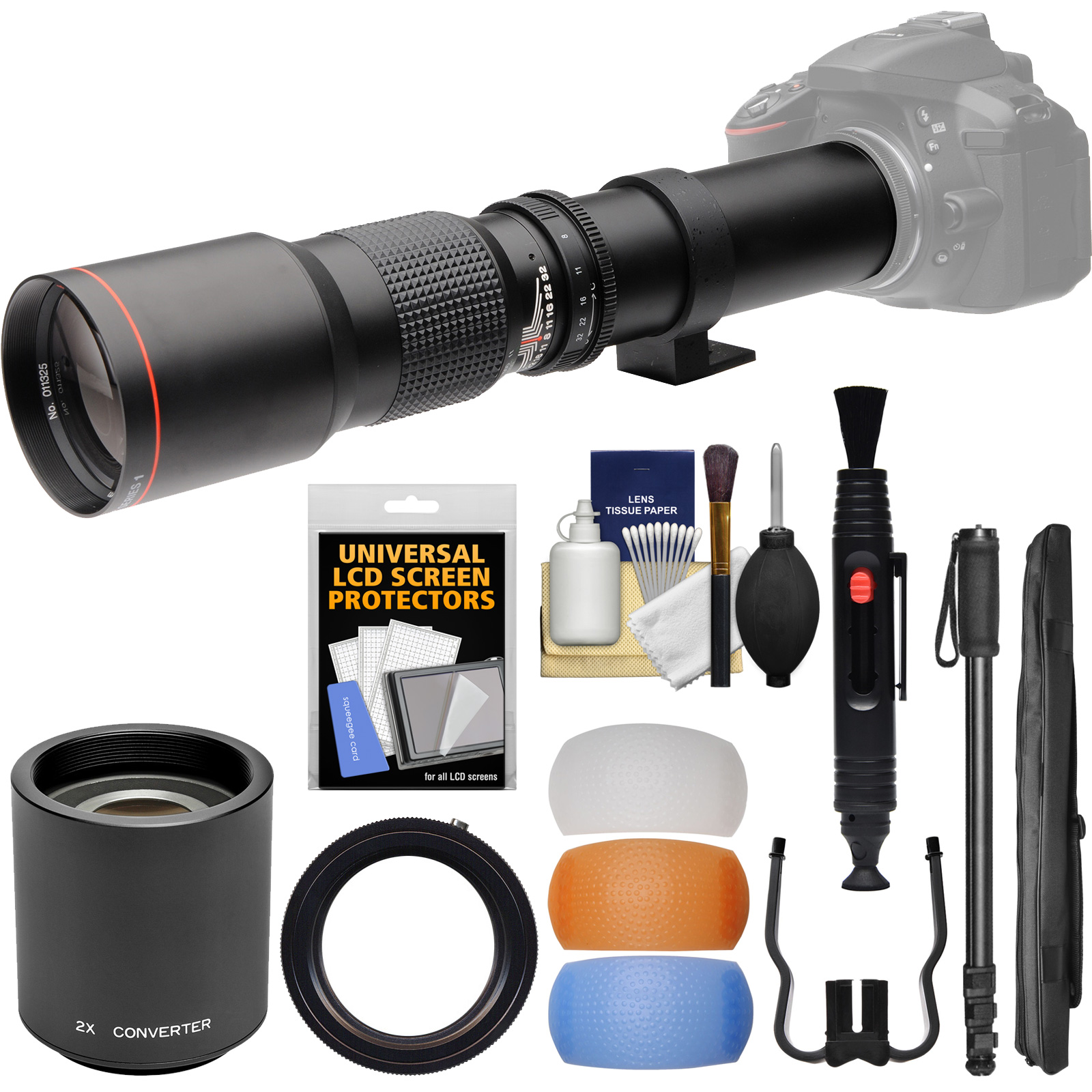 Vivitar 500mm f/8.0 Telephoto Lens (T Mount) & 2x Teleconverter (=1000mm) + 3 Color Flash Diffusers + Monopod Kit for Nikon Digital SLR Cameras