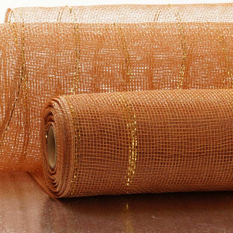 "21"" X 10 Yards Brown Deco Mesh W/Thin Metallic Stripes by Paper Mart"