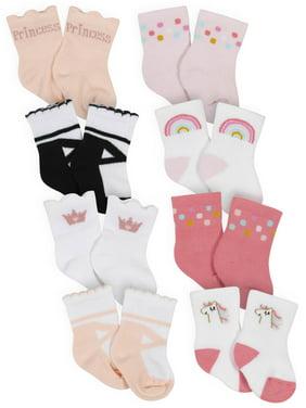 Gerber Baby Girls Organic Wiggle-Proof Crew Socks, 8-Pack