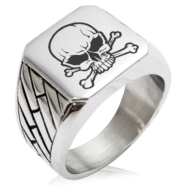 Tioneer Stainless Steel Pirate Skull Crossbones Geometric Pattern Biker Style Polished Ring Walmart Com Walmart Com