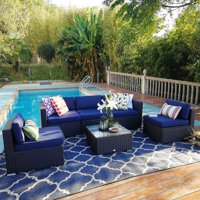 MF Studio 6 Piece Outdoor Rattan Sectional Sofa- Patio Wicker Furniture Set ( Blue)