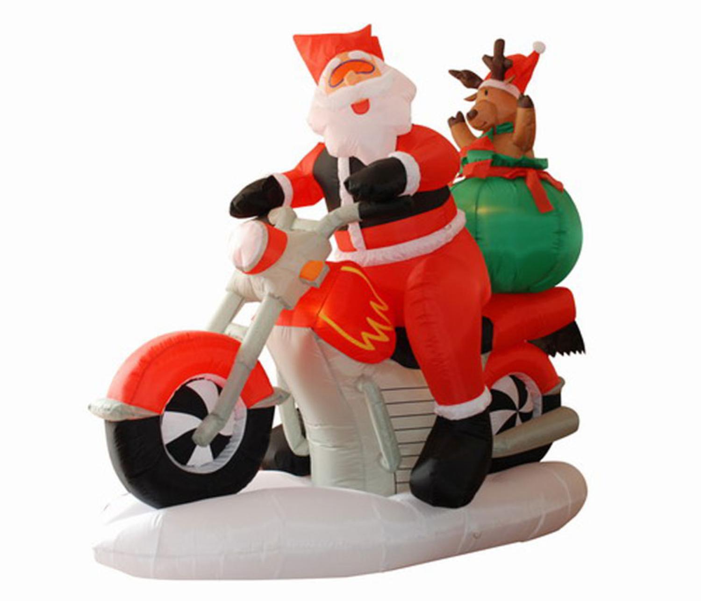6.5u0027 Inflatable Santa Claus On Motorcycle Lighted Christmas Yard Art  Decoration   Walmart.com