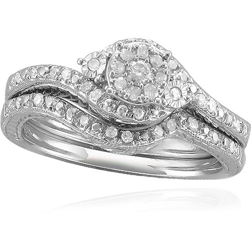 Forever Bride 1 3 Carat T.W. Diamond Sterling Silver Bridal Set by Fabrikant Tara Internaltional LLC