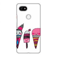 Google Pixel 2 XL Case - Ice Creams, Hard Plastic Back Cover, Slim Profile Cute Printed Designer Snap on Case with Screen Cleaning Kit