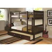 Donco Kids Mission Bunk Bed-Color:Dark Cappuccino,Size:Twin/Twin,Style:W/TWIN TRUNDLE BED