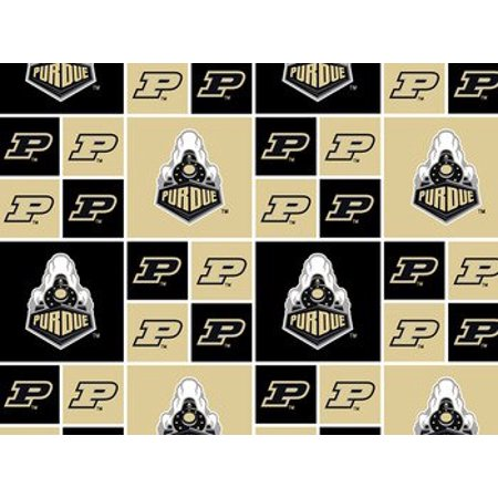 Purdue University Fabric Fine Cotton Classic Geometric Design-Sold by the Yard