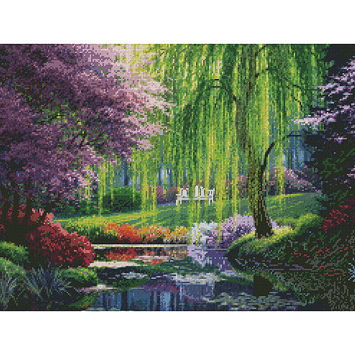 "The Willow Pond Needlepoint Kit, 16"" x 12"" Stitched In Floss"