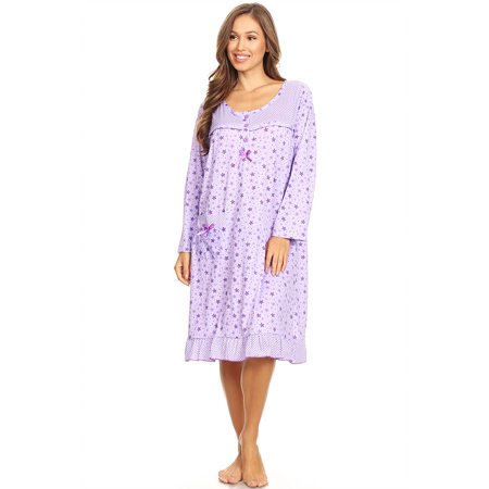 Long Sleeve Nightdress (6009 Womens Nightgown Sleepwear Pajamas Woman Long Sleeve Sleep Dress Nightshirt Purple L)