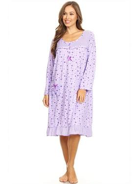 Product Image 6009 Womens Nightgown Sleepwear Pajamas Woman Long Sleeve  Sleep Dress Nightshirt Purple L f276df9f39