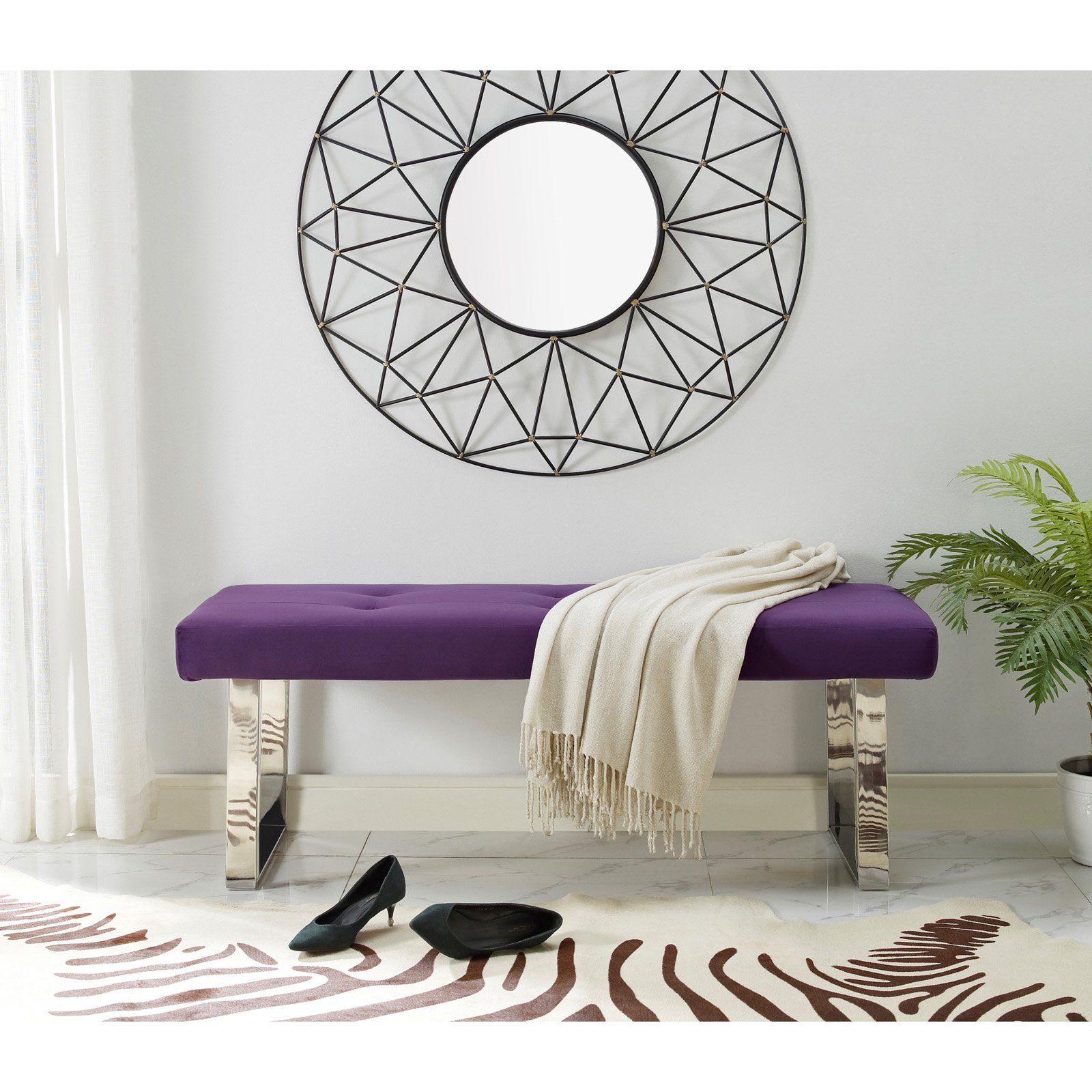Inspired Home Kevin Velvet Backless Bedroom Bench
