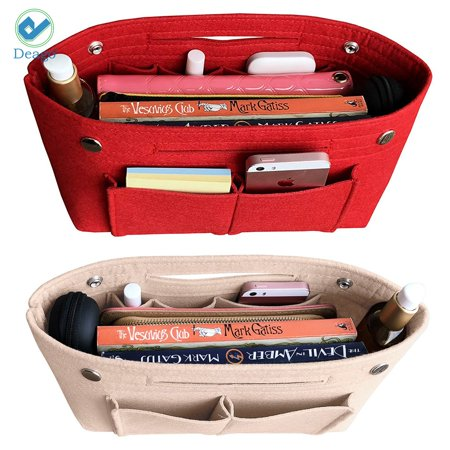 Deago Portable Purse Handbag Organizer Felt Makeup Cosmetic Storage Pouch Insert Liner Bag in Bag