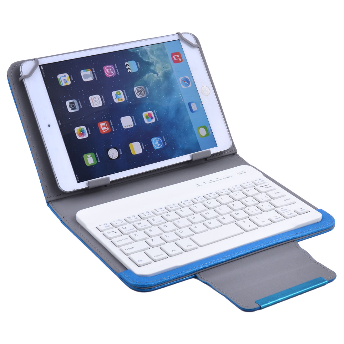 Unique Bargains PU Leather  Keyboard Leather Cover Case Blue for 7 Inch 8 Inch Tablet