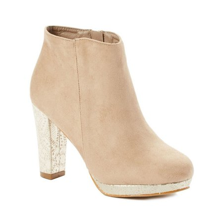 First Date Adult Taupe Lace Print Heel Side Zipper Ankle Boots ()