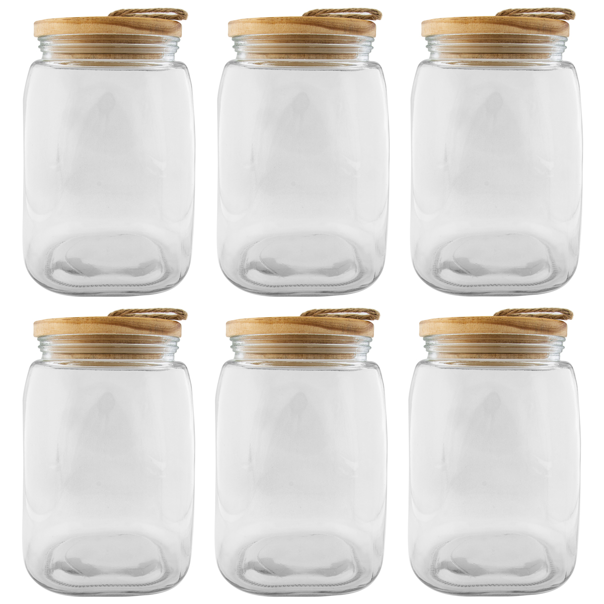 Blue Harbor (6 Pack) Glass Jar Set 91oz Storage Jars With Lids Insulated Kitchen Containers Large Bulk by Blue Harbor