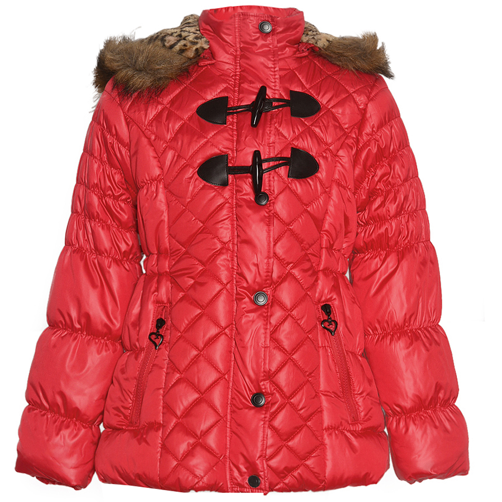 Urban Republic Girls Red Quilted Toggle Fur Trim Hooded Puffer Coat