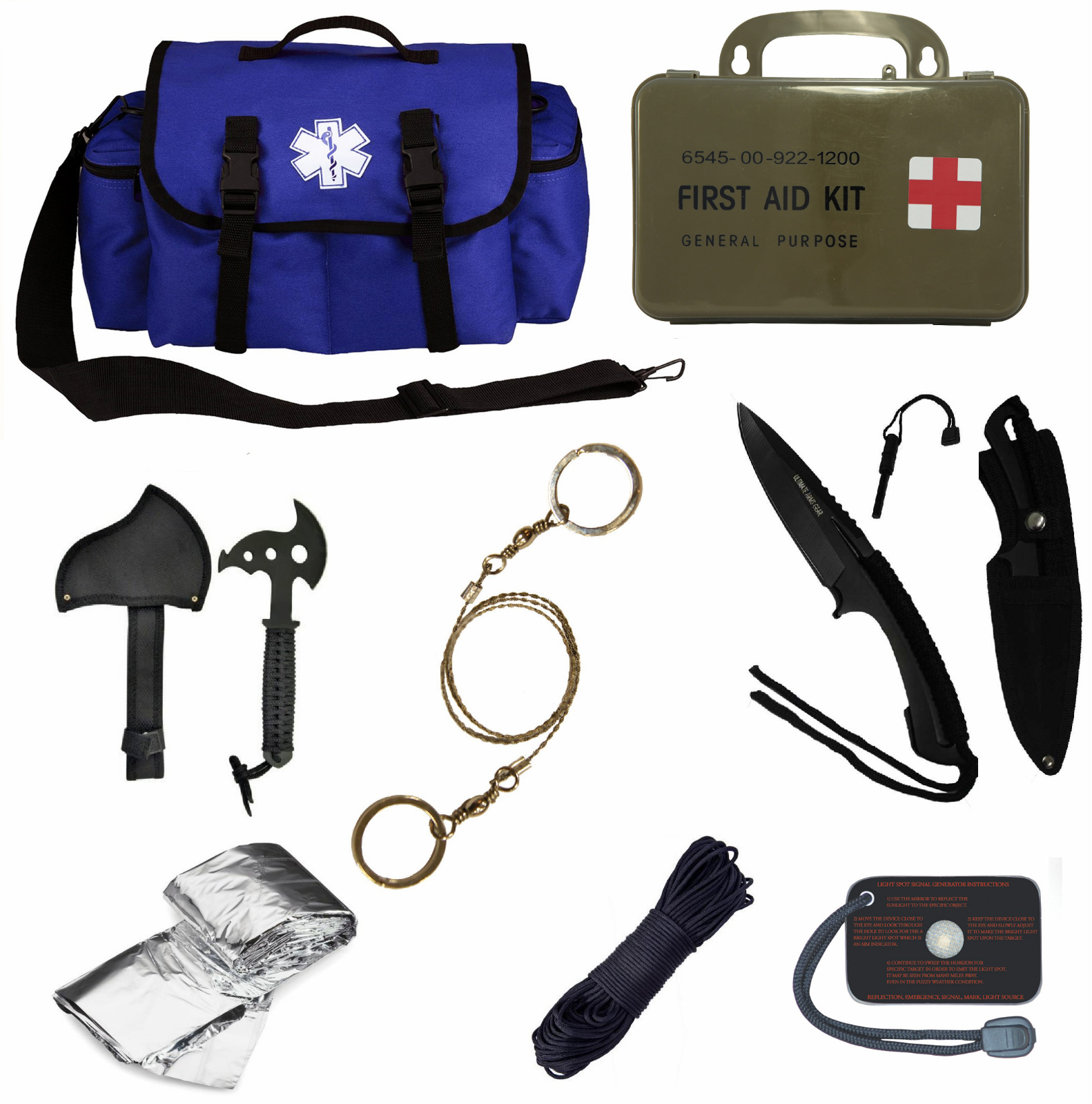 Click here to buy Ultimate Arms Gear Deluxe Blue Emergency Survival Rescue Bag Kit; Signal Mirror, Polarshield Blanket, Knife Fire....