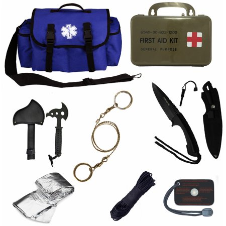Ultimate Arms Gear Deluxe Blue Emergency Survival Rescue Bag Kit  Signal Mirror  Polarshield Blanket  Knife Fire Starter  Wire Saw  50 Foot Paracord   First Aid Kit