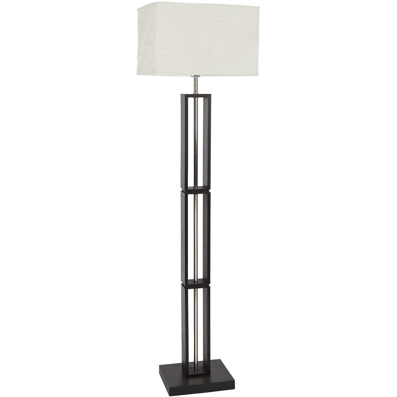 Mainstays Dark Wood Floor Lamp with Rice Paper Shade - Walmart.com