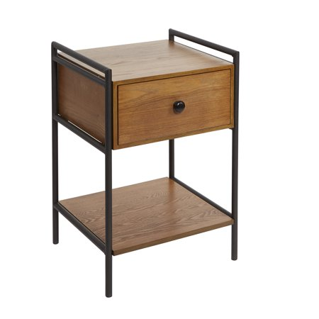 Rebekah Farmhouse Industrial Bedside Table with Drawer