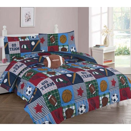6-PC TWIN RUGBY Complete Bed In A Bag Comforter Bedding Set With Furry Friend and Matching Sheet Set for Kids