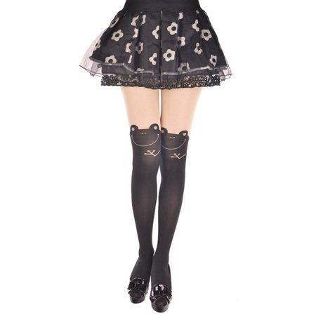 Women Cute Cartoon Animal Mock Knee High Tattoo Tights Stockings Socks