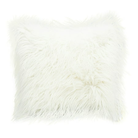 Deluxe Home Decorative Super Soft Plush Mongolian Faux Fur Throw Pillow Cover Bronze Throw Pillow