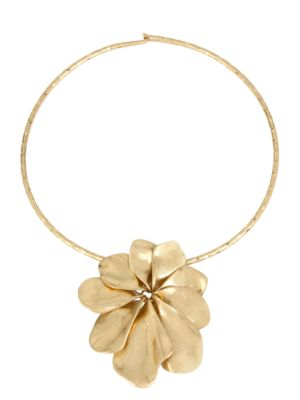 Sculptural Flower Pendant Collar Necklace