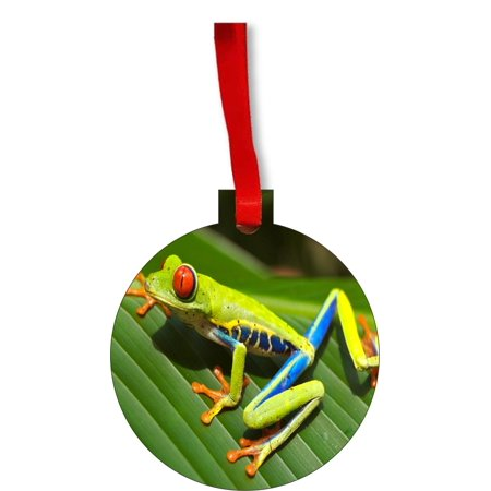Red Eyed Tree Frog on a Leaf Round Shaped Flat Hardboard Christmas Ornament Tree Decoration - Unique Modern Novelty Tree Décor Favors Red Tree Frog