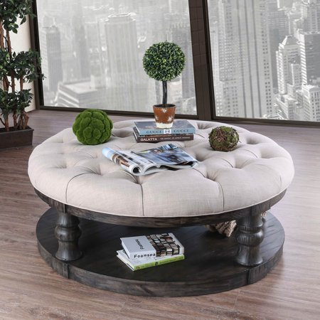 Groovy Furniture Of America Tanenbaum Rustic Antique Gray Round Ottoman Coffee Table Machost Co Dining Chair Design Ideas Machostcouk