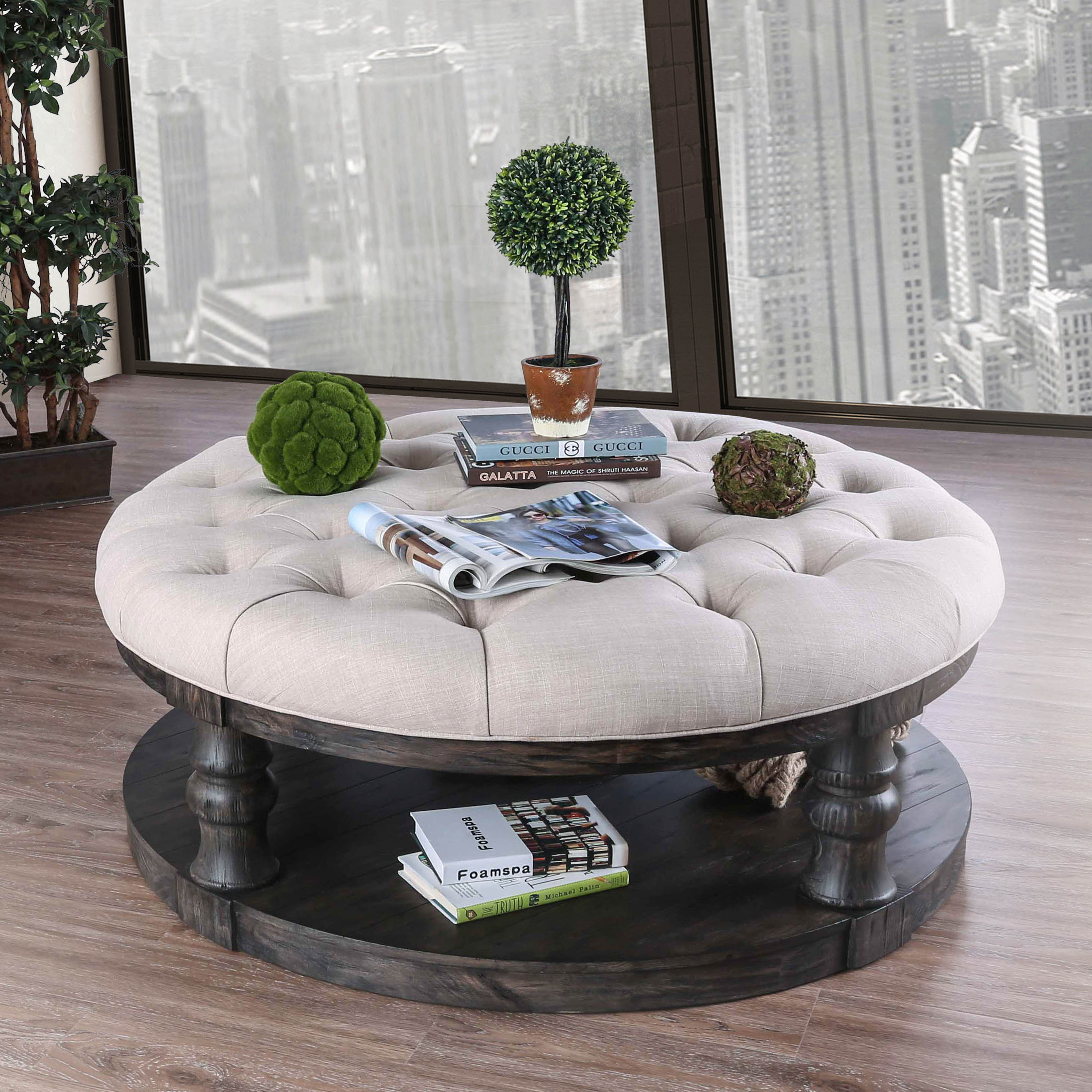 Furniture of America Tanenbaum Rustic Antique Gray Round Ottoman Coffee Table