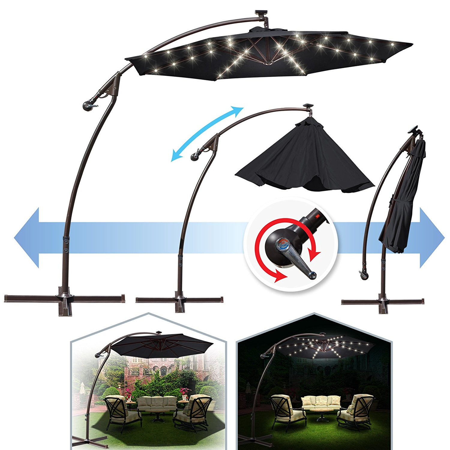 9 ft Cantilever Solar Powered LED Light Patio Offset Hanging Umbrella Outdoor Garden Black