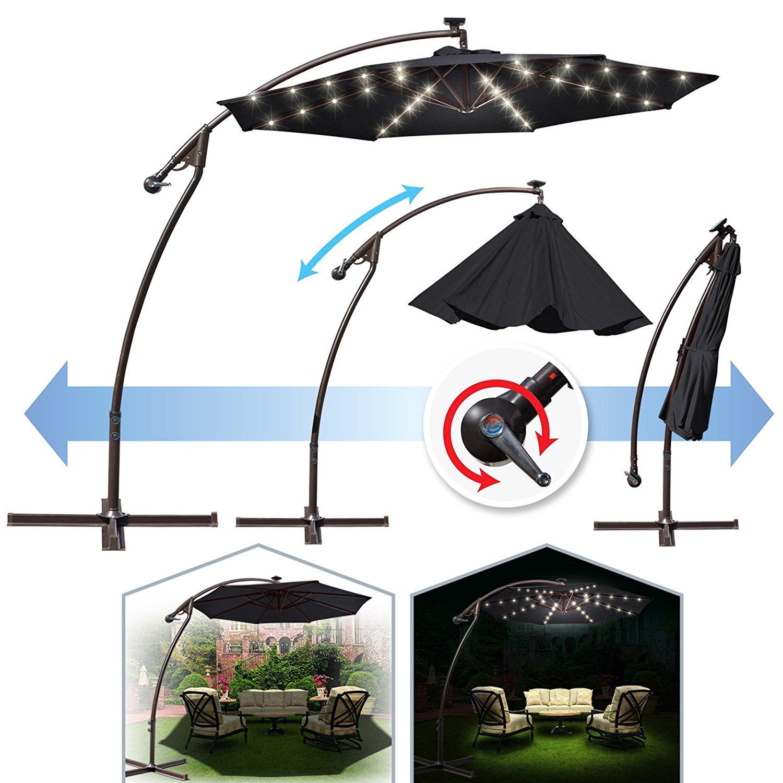 9 ft Cantilever Solar Powered LED Light Patio Offset Hanging Umbrella Outdoor Garden Black