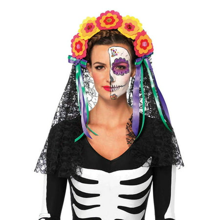 Leg Avenue Day Of The Dead Flower Headband Adult Halloween Costume