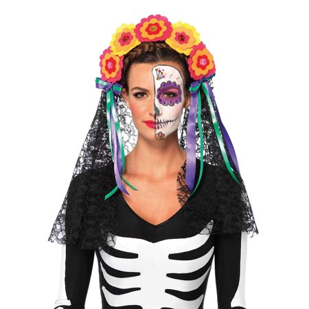 Leg Avenue Day Of The Dead Flower Headband Adult Halloween Costume (Halloween Costume Diy Adults)