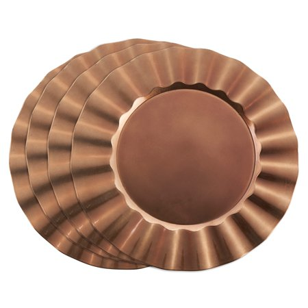 Copper Charger Plates (Saro Metallic Ruffle Border Round Charger Plate - set of 4)