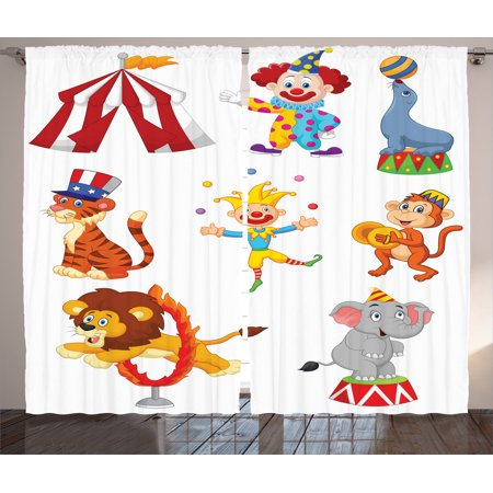 Circus Decor Curtains 2 Panels Set, Cartoon Collection Of Cute Circus Theme Artwork Wild Animals Performer, Living Room Bedroom Accessories, By Ambesonne (Circus Theme)