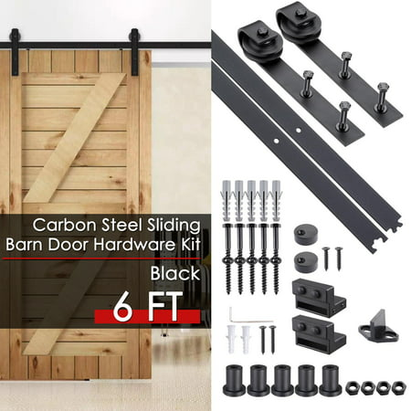 Yescom 6 FT Carbon Steel Sliding Barn Door Hardware Kit Track Rail Roller Set Black Country Style for Wooden - Door Panel Rails