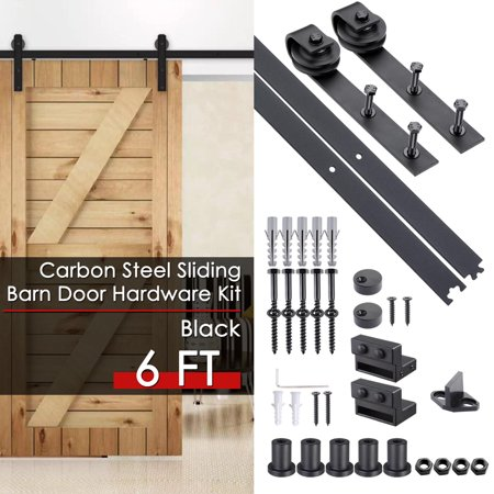 - Yescom 6 FT Carbon Steel Sliding Barn Door Hardware Kit Track Rail Roller Set Black Country Style for Wooden Wall