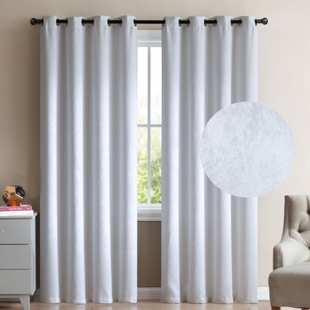 "2 Blackout Room Darkening Window Curtains 84"" Length White Velour Velvet Grommet Panel Pair Drapes"