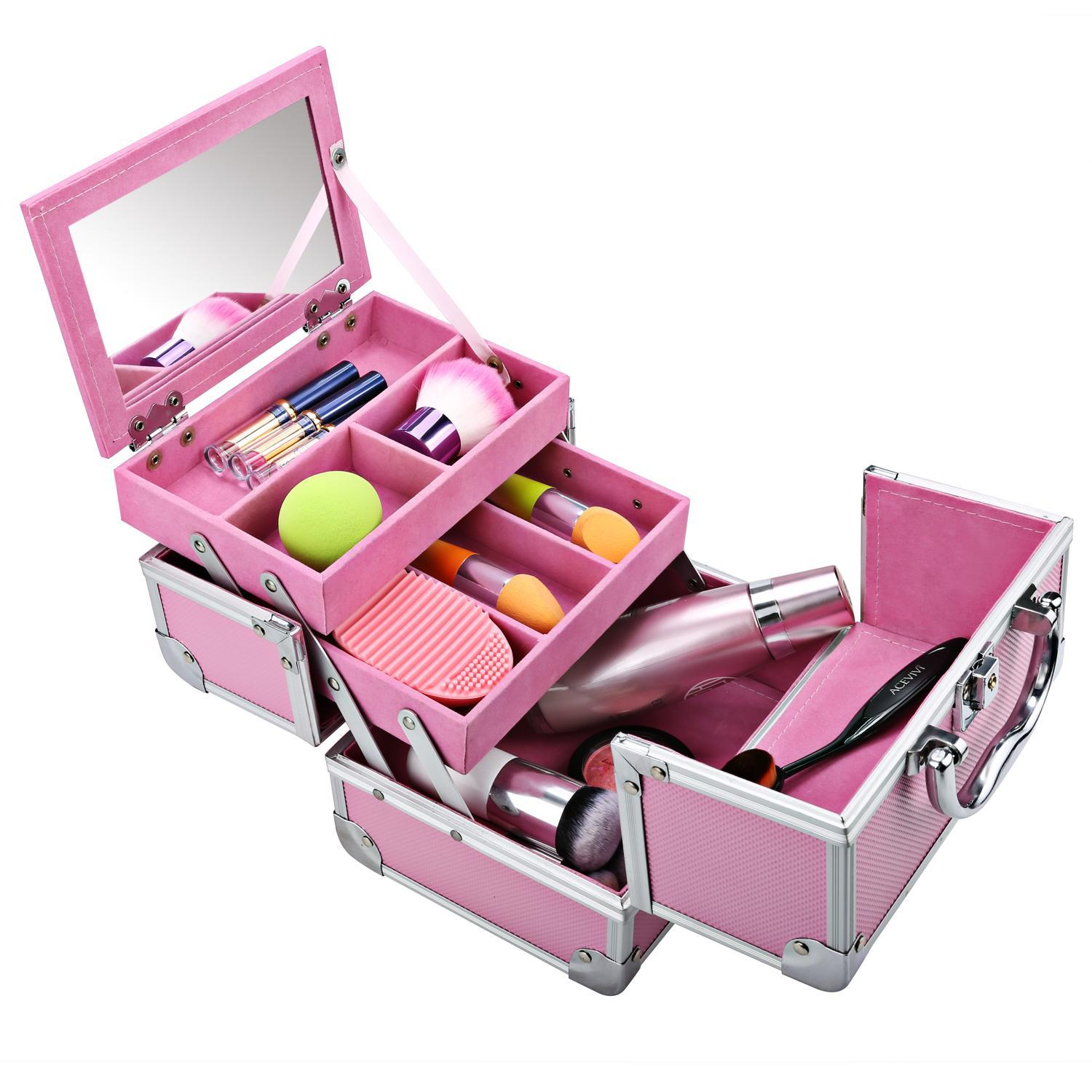 "Black Friday Clearance!  Cosmetic Train Case - 3-Tier Travel Portable Mini Makeup Case Cosmetic Organizer Box with Lock 8""x 6"" x 6"""