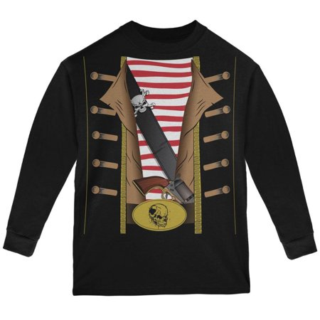 Halloween Pirate Costume Black Youth Long Sleeve T-Shirt