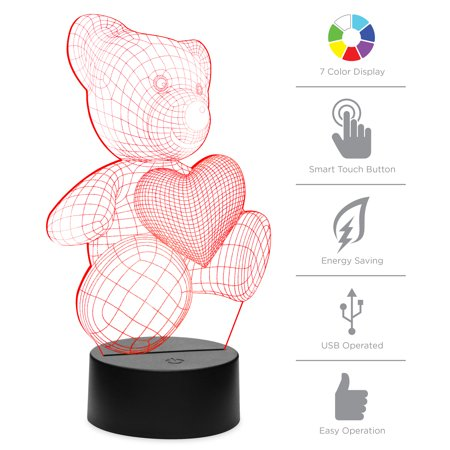 Best Choice Products 7-Color 3D Teddy Bear LED Night Light Illusion Lamp with Touch