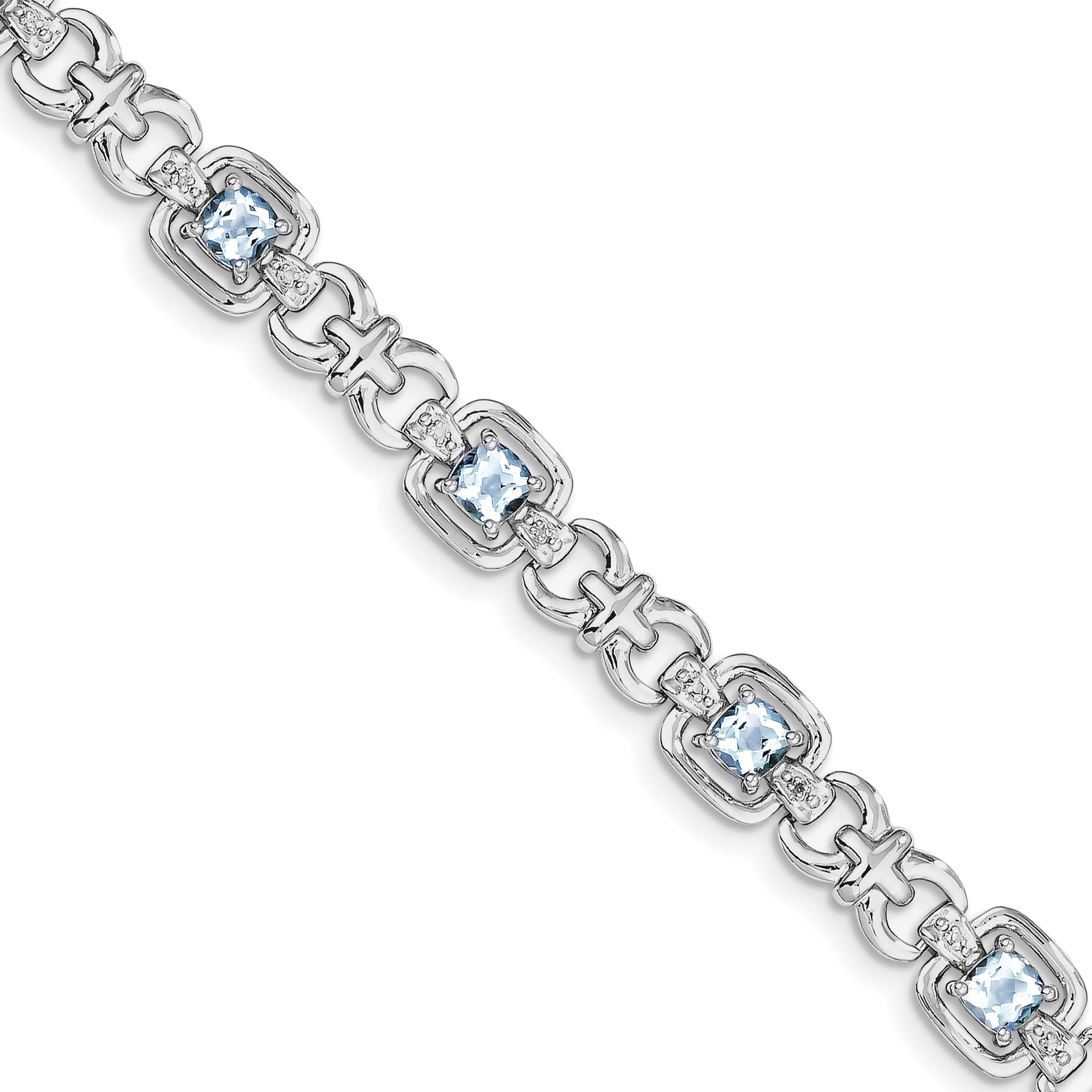 Sterling Silver Diamond & Light Swiss Blue Topaz Bracelet by Kevin Jewelers