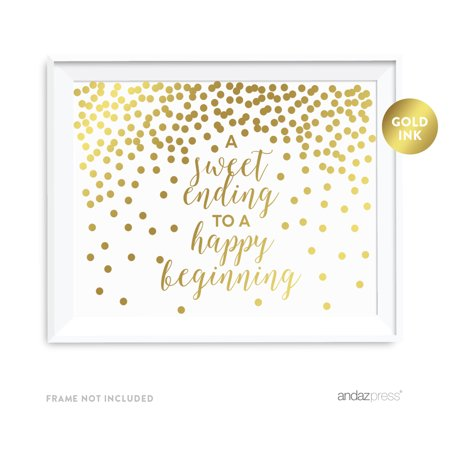 Metallic Gold Confetti Polka Dots 8.5x11-inch Party Sign, A Sweet Ending to a Happy Beginning, Unframed