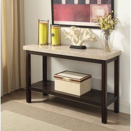 Furniture of America Denver Transitional Marble Top Sofa table in Dark Walnut ()