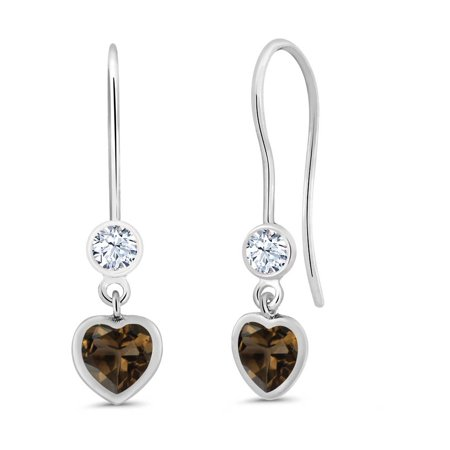1.10 Ct Heart Shape Brown Smoky Quartz 925 Sterling Silver (Smoky Quartz Sterling Earrings)