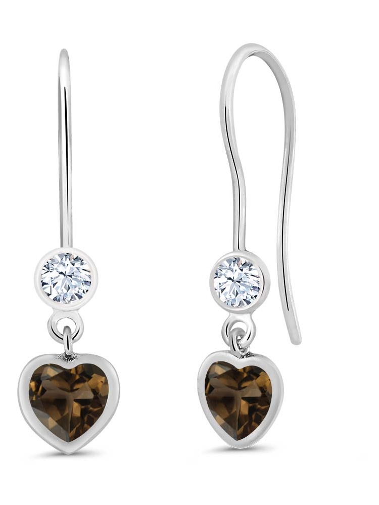 1.10 Ct Heart Shape Brown Smoky Quartz 925 Sterling Silver Earrings