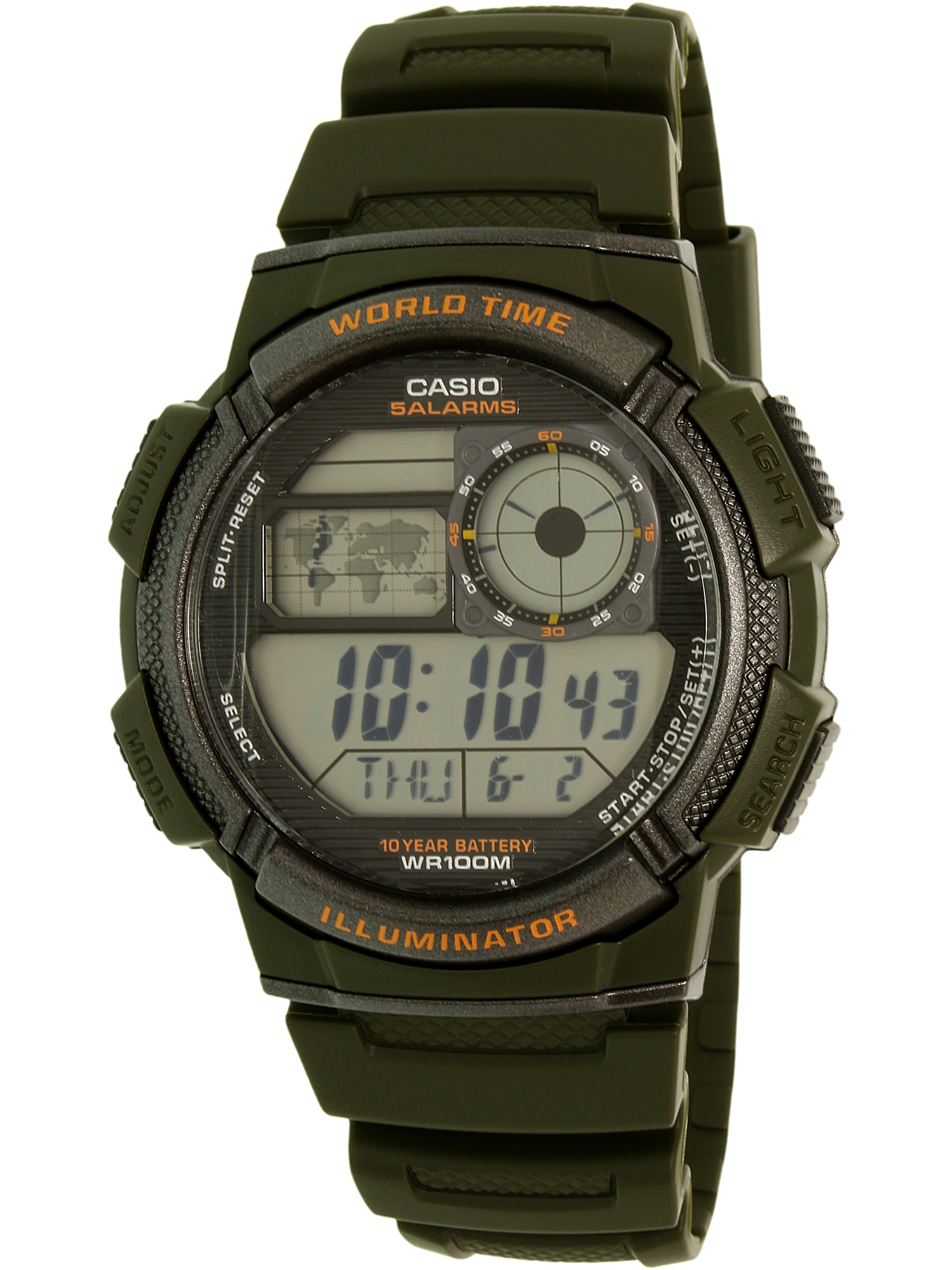 Men's World Time Watch, Green, AE1000W-3AVCF